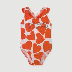 All Over Hearts Swimsuit in Turtledove
