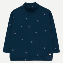 """Dots"" Long Sleeve Shirt in True Navy/Dark Lilac"