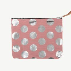 Clutch with Silver Polka Dots in Pink