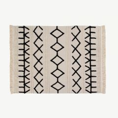 """Bereber Canvas"" Washable Rug in Beige"