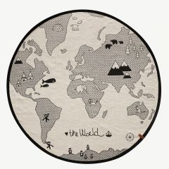 """""""The World"""" Black-and-Off-white Play Rug"""