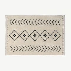 Bereber Rhombs Washable Rug in Beige