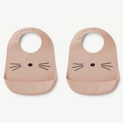 Tilda Silicone Bib Cat in Rose (2 pack)