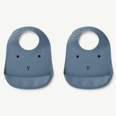 Tilda Silicone Bib Rabbit in Blue Wave (2 pack)