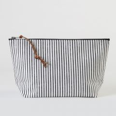 Clutch Bag with Black Vertical Stripes in White