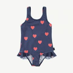 """Hearts"" Frills Swimsuit in Light Navy/Light Red"