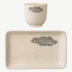 White Stoneware Cup & Plate Set with Cloud