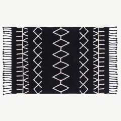 """Black&White Bereber"" Washable Rug in Black"