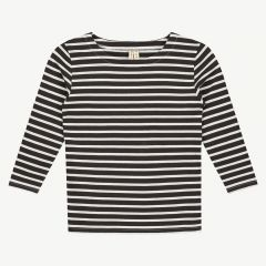 Long Sleeve Striped T-Shirt in Nearly Black & White Stripe