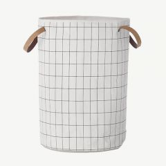 White Laundry Basket with Grid Print in Black