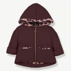 """Regina"" Hood Jacket in Burgundy/ Rose"