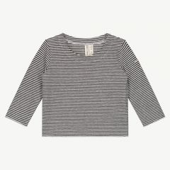 Baby Long Sleeve Shirt with Stripes in Nearly Black/ Cream