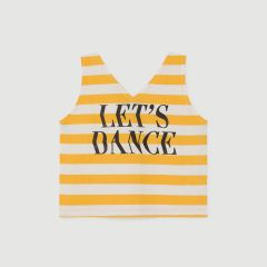 Let's Dance Striped Top in Turtledove/ Yellow