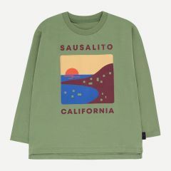 """Sausalito"" Long Sleeve Shirt in Green Wood/Aubergine"