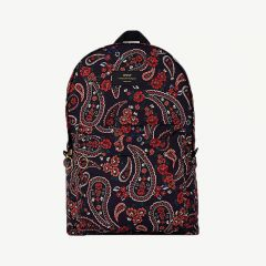 Paisley Foldable Velvet Backpack in Blue