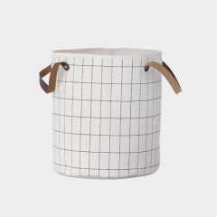 White Basket with Grid Print in Black
