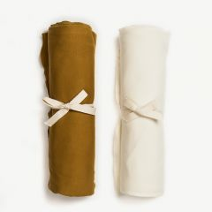 Swaddle Blankets in Curry/ Vanilla, Set of 2
