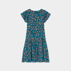 All Over Oranges Flamenco Dress in Azure Blue