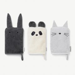 """Sylvester"" Pack of 3 Washcloths in Light Gray, Dark Gray and Cream"