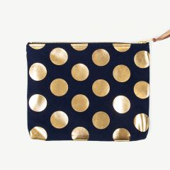 Clutch with Gold Polka Dots in Navy