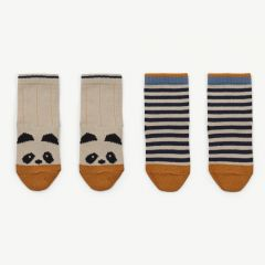 Silas Cotton Socks with Panda Print/Stripes in Ecru (2 pack)
