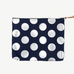 Clutch with Silver Polka Dots in Navy