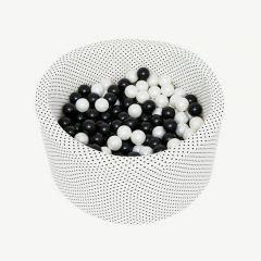 Round Ballpit with Black Dots (Black & Pearl)