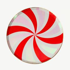 Swirl Party Plates in Red/ Gold - Pack of 8