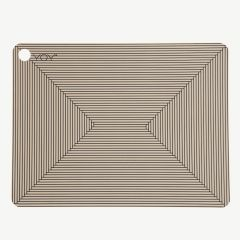Clay-Colored Placemat Set with Lines (2 Pieces)