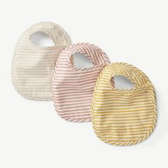 Stripes Away 3pk Bib Set - Petal