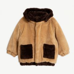 Faux Fur Hooded Jacket in Beige
