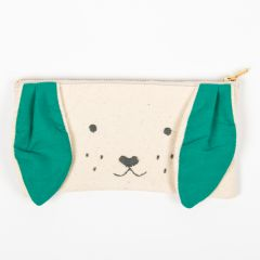 Beige Pouch with Dog Face