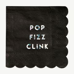 "Servietten ""Pop Fizz Clink"" in Schwarz, groß"