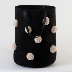 Black Bag with Stone Beige Pompoms