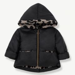 """Regina"" Hood Jacket in Black/ Beige"