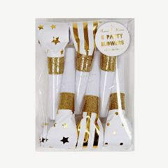 Party Blowers in Gold - Pack of 6