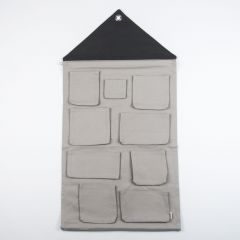 Gray House-Shaped Wall Storage Unit