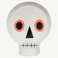 Halloween Skull Party Plates in White - Pack of 12