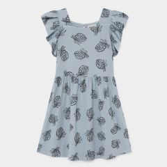 All Over Pineapple Jersey Ruffle Dress in Blue Fog