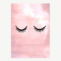Pink Poster with Sleepy Eyes