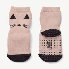 Nellie Anti Slip Socks Cat in Pink, Pack of 2