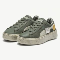 Basket Platform Sneakers in Green