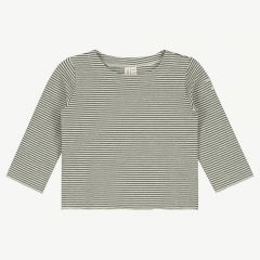 Baby Long Sleeve Shirt with Stripes in Moss/ Cream