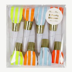 Neon Striped Party Blowers in Multicolored - Pack of 8