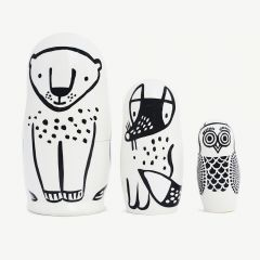 """""""Forest Friends"""" Black and White Matryoshka with Animal Figures"""