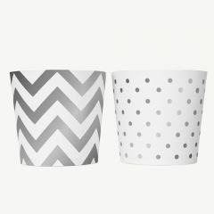 WHITE SILVER FOOD CUPS