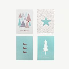 Christmas Cards in Multicolor - Pack of 4