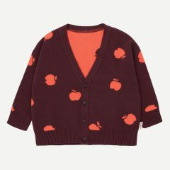 """Apples"" Cardigan in Aubergine/Rot"