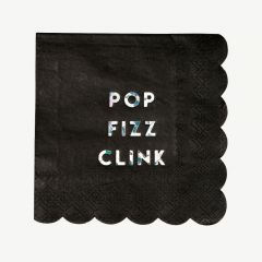 "Servietten ""Pop Fizz Clink"" in Schwarz, klein"