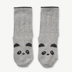 Silas Cotton Socks Panda in Grey Melange (2 pack)